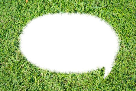 Abstract green grass bubble talk isolate on over white background photo