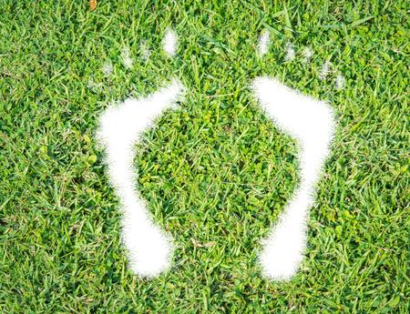 白い背景の上に緑の草エコロジカル ・ フット プリントの概念 写真素材