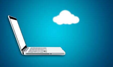 Cloud computing laptop technology connectivity concept on blue background photo