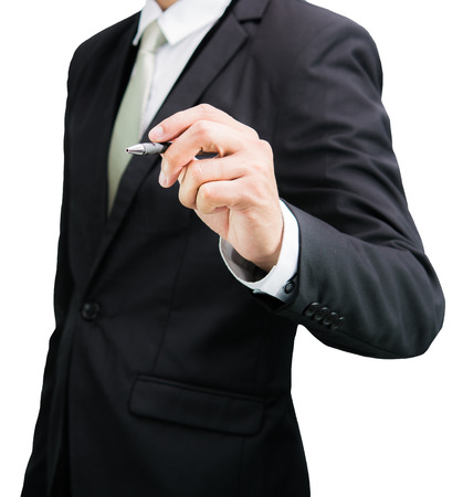 Businessman standing posture hand hold a pen isolated on over white