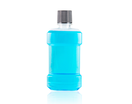 mouthwash: Blue water mouthwash isolate on over white background