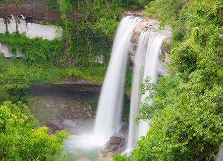 Waterfall beautiful in wild nature asian of Thailand photo