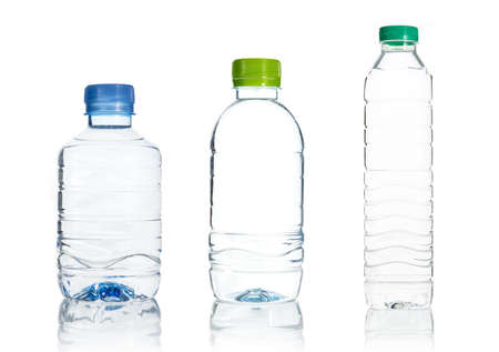 Plastic water bottle isolate on over white background photo