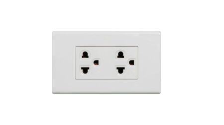 electrical outlet isolated on over white background photo