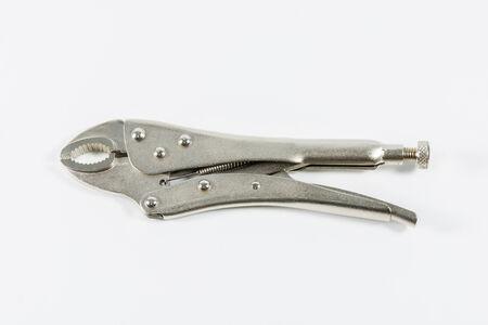 locking: Locking pliers isolate on over white background Stock Photo