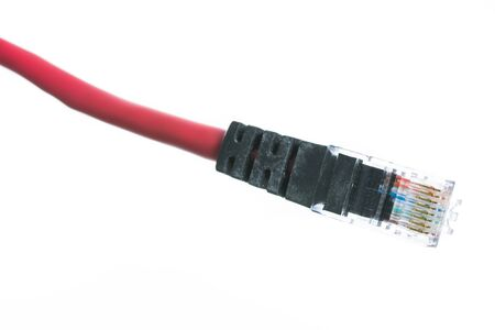 isdn: Network cable with RJ45 isolate on over white background Stock Photo