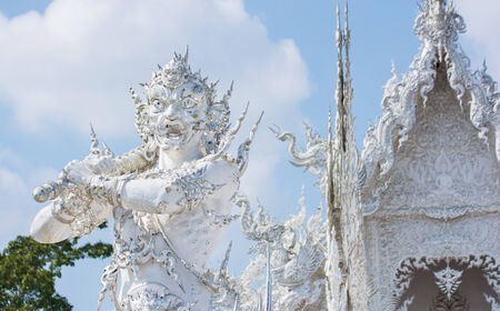 venerable: Giant Wat Rong Khun or White temple At Chiangrai, Thailand