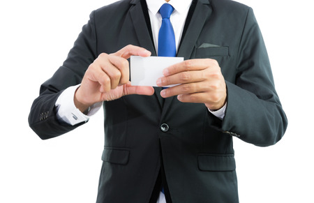 participate: Businessman hand showing business card or note paper isolate on over white background Stock Photo