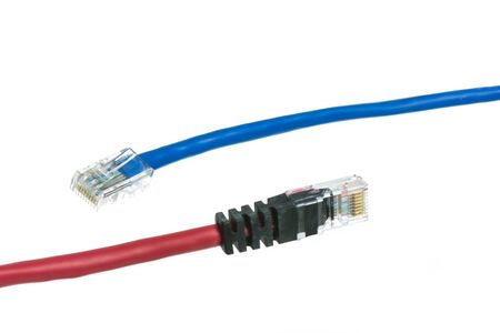 isdn: Network cable with isolate on over white background