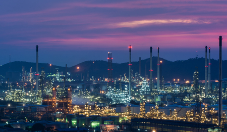 Oil refinery power station at twilight of Lamchabang, Thailand photo