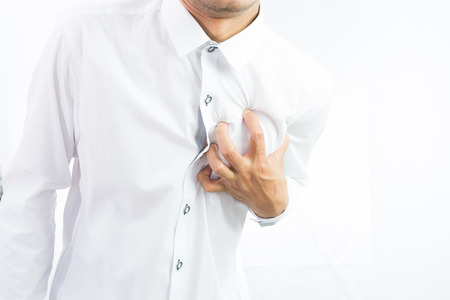 businessman having heart attack isolate on over white background Stock Photo