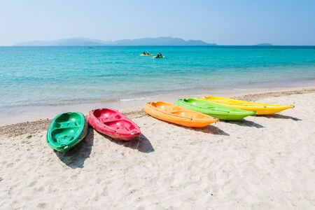 Colorful kayak on tropical beach of Thailand