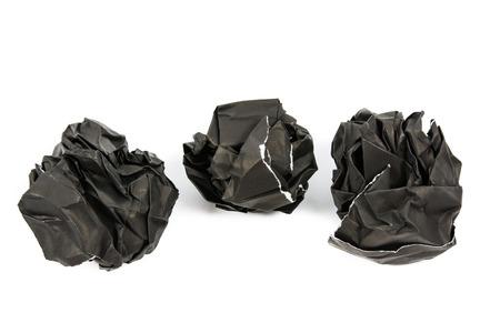corrugate: Black paper ball corrugate isolate on over white background