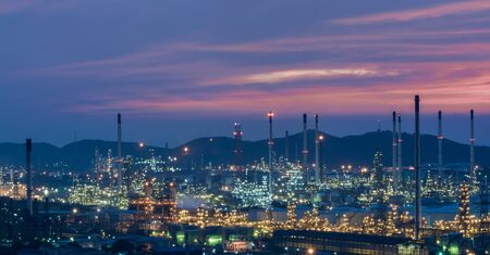 Oil refinery power station at twilight of Lamchabang, Thailand