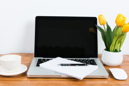 Laptop and flower pot on wooden table on wall background