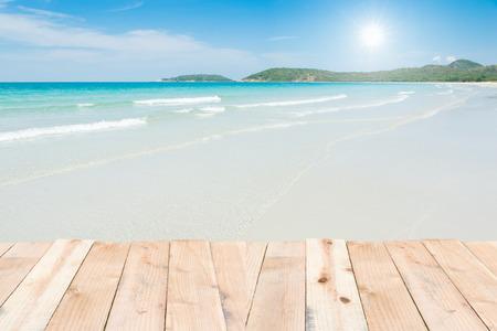 Captivating Beauty Holiday Wood Terrace On Beach Blue Sky Photo