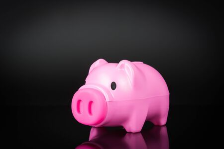 Piggy bank isolated on black a background photo