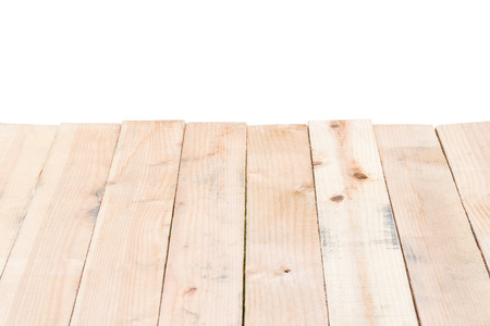 Wooden table texture isolated on white background Stock Photo
