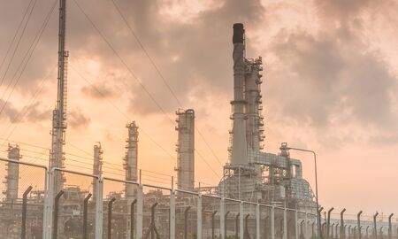 Oil refinery power station at sunshine at Chonburi of Thailand photo