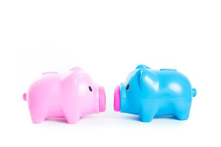 Piggy bank isolated on over white background photo