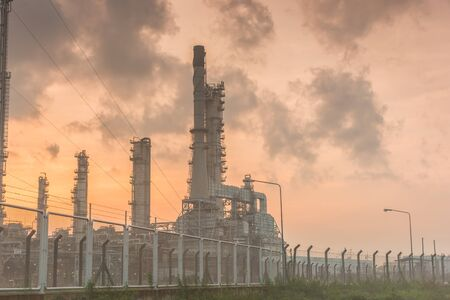 chonburi: Oil refinery power station at sunshine at Chonburi of Thailand Stock Photo