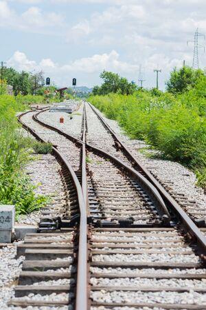 Railway track, railroad junction traffic of Thailand