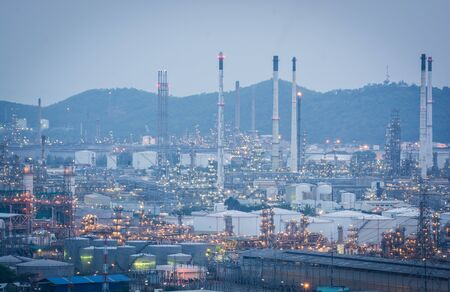 industry power: Light of petrochemical industry power station on sunset of Thailand