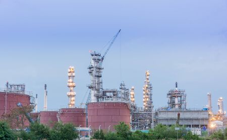 Oil petrochemical industrial plant at night of Thailand photo