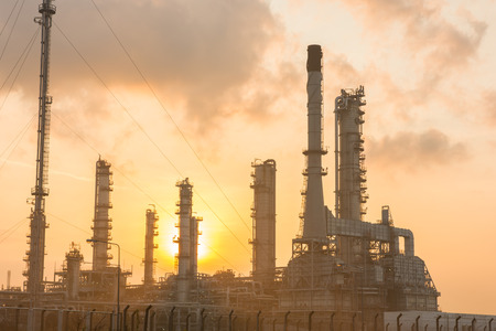 chemical engineering: Oil refinery power station at sunshine at Chonburi of Thailand Stock Photo