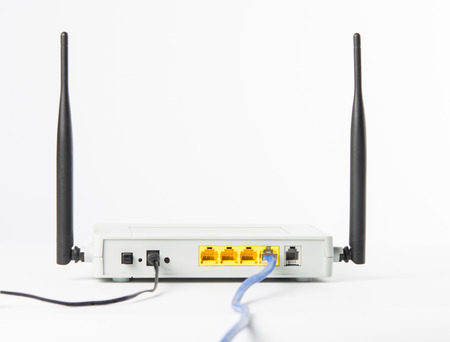Wireless modem router network hub on white background