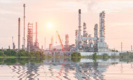 lluvia acida: Industrial plant power station and the sun light