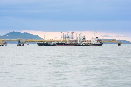 mining ships: Pier for loading of coal ships at the port of Thailand