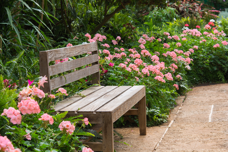 Beautiful wooden garden chair in the garden Stock Photo