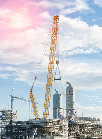 Construction Industry oil rig refinery working site, asia in Thailand Stock Photo