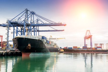 container port: Trade asia port while load the job of Thailand Stock Photo