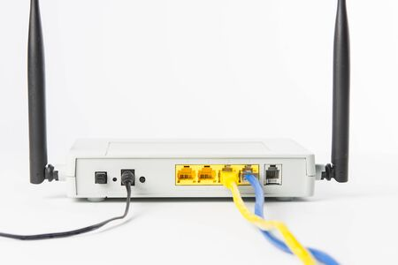 wireless network: Wireless modem router network hub on white background