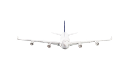fuselage: White airplane isolated on over white background