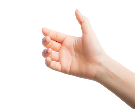 Woman Hands gestures on over white background