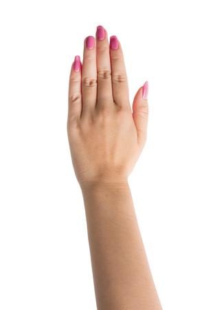 제스처: Woman Hands gestures on over white background