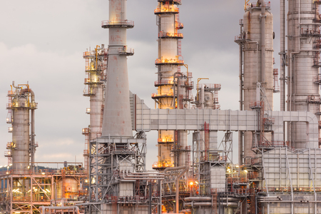 Oil Refinery factory in morning sunrise, Petroleum, petrochemical plant