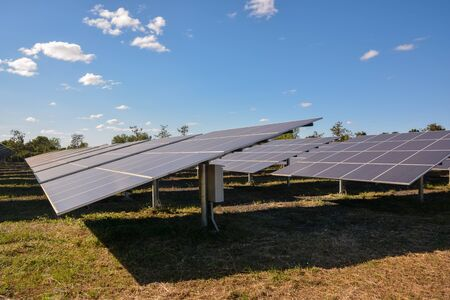 photocell: Photovoltaic solar panels on green grass with blue sky