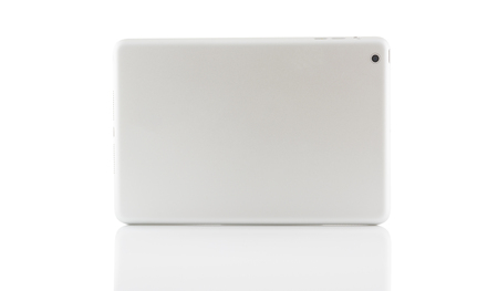back tablet silver isolate on over white background