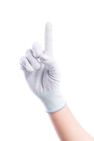 show hands: Mostrar un dedo Manos con guantes de algodón aislado sobre fondo blanco Foto de archivo