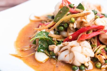Spicy seafood stir fried, Thai spicy herb food