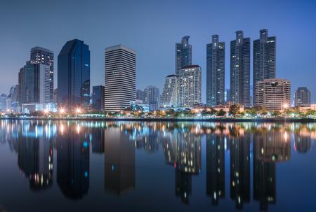 benjakitti: Business buildings in Bangkok at Benjakiti park night Scene of Thailand Stock Photo