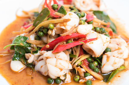 Spicy seafood stir fried, Thai spicy herb food