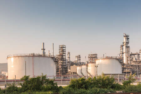 petrochemical plant: Gas tank oil petrochemical plant at sunset