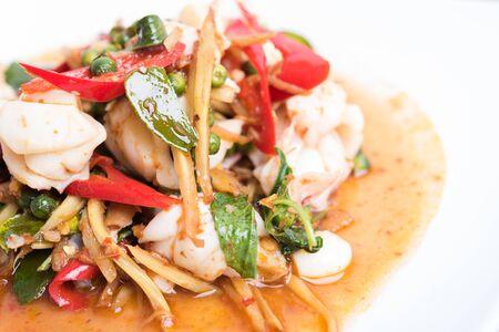 spicy food: Spicy seafood stir fried, Thai spicy herb food