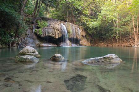 cataract falls: Waterfall erawan with rock Kanchanaburi of Thailand