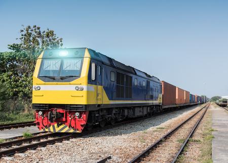 diesel train: Cargo freight diesel train with container
